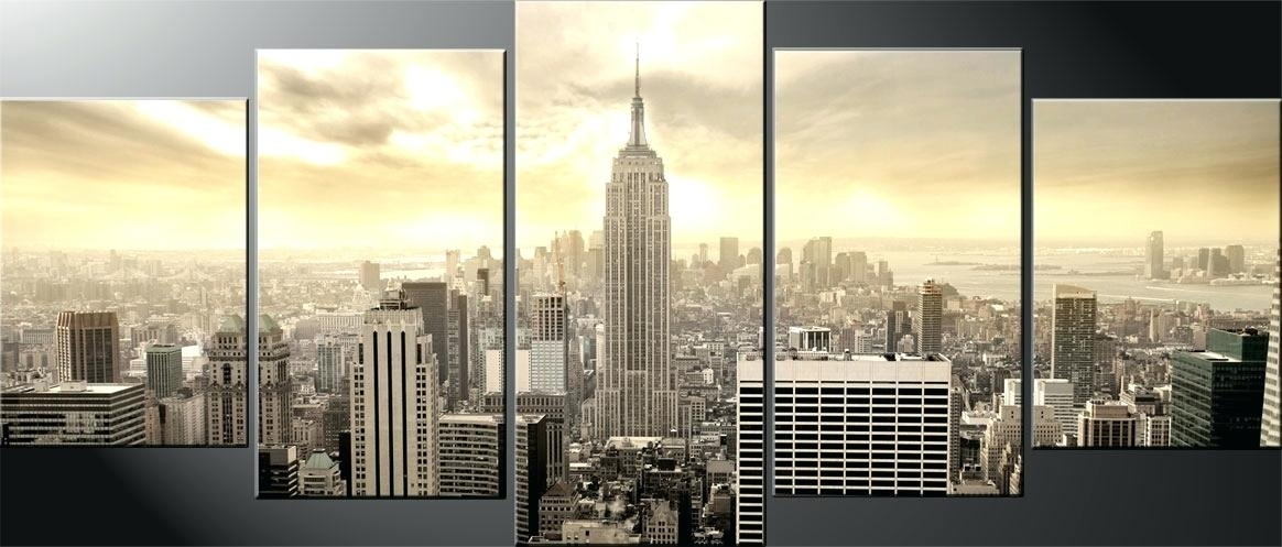 Nyc Wall Art Large Four Panel Wall Art Lights On Night Time Canvas Pertaining To Nyc Wall Art (Image 6 of 10)