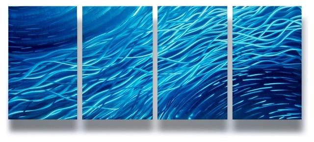 "Ocean"" 4 Panel Metal Wall Art Decor, 63""x24"" – Modern – Wall Decor In Ocean Wall Art (View 8 of 10)"