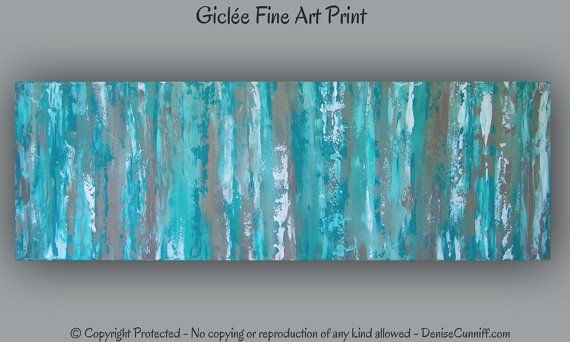 Office Decor, Large Aqua Teal Abstract Art Print, Teal Wall Art With Regard To Teal Wall Art (Image 7 of 10)