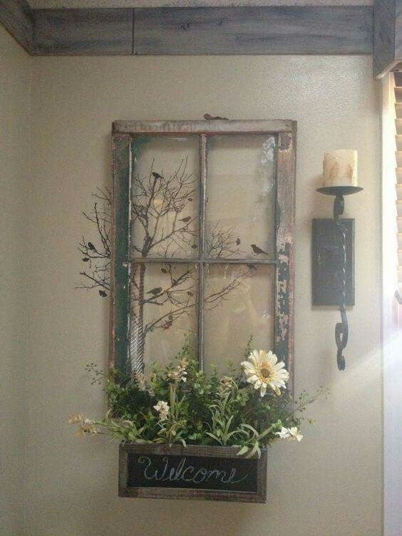 Old Window Frame Decor | Diy | Pinterest | Window Frame Decor With Regard To Window Frame Wall Art (Image 3 of 10)