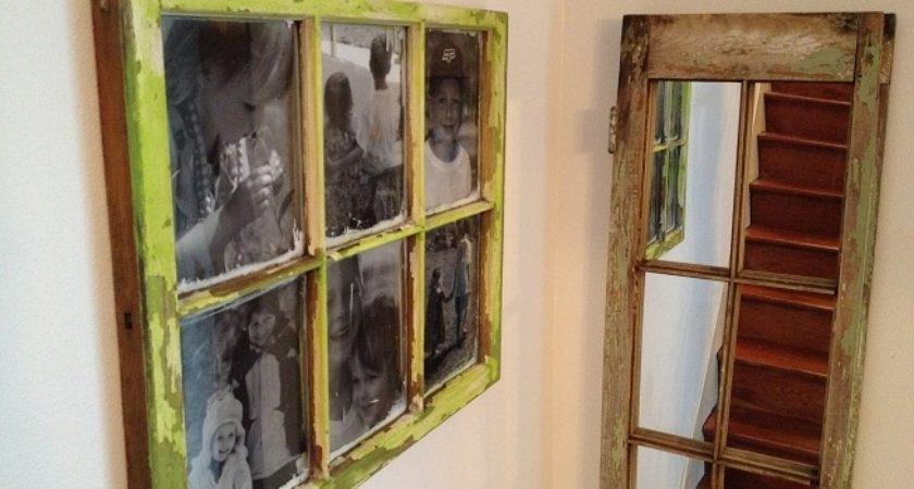 Old Window New Frame Wall Art Diy Pink Hammer Blog – Tierra Este Inside Window Frame Wall Art (Image 4 of 10)