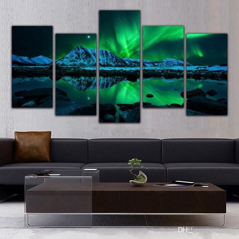 Online Cheap 5 Panel Canvas Art Aurora Borealis Sea Wave Canvas Regarding 5 Piece Canvas Wall Art (Image 9 of 10)