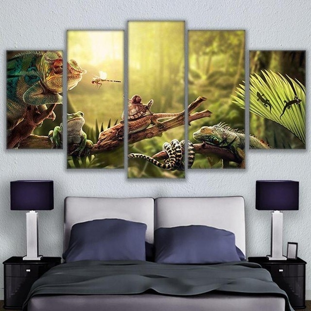 Online Shop Canvas Wall Art Home Decor Prints Poster 5 Pieces Iguana For Gecko Canvas Wall Art (Image 9 of 10)