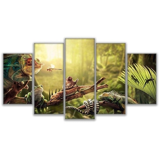 Online Shop Canvas Wall Art Home Decor Prints Poster 5 Pieces Iguana Pertaining To Gecko Canvas Wall Art (Image 10 of 10)