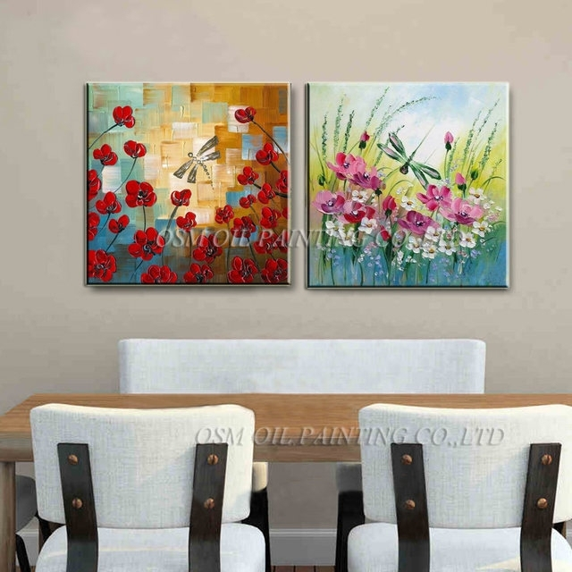Online Shop Hand Painted Knife Flowers Oil Paintings Abstract Pertaining To Dragonfly Painting Wall Art (Image 10 of 10)