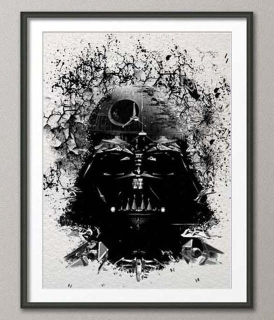 Online Shop Original Watercolor Darth Vader Print Canvas Painting Pertaining To Darth Vader Wall Art (Image 5 of 10)