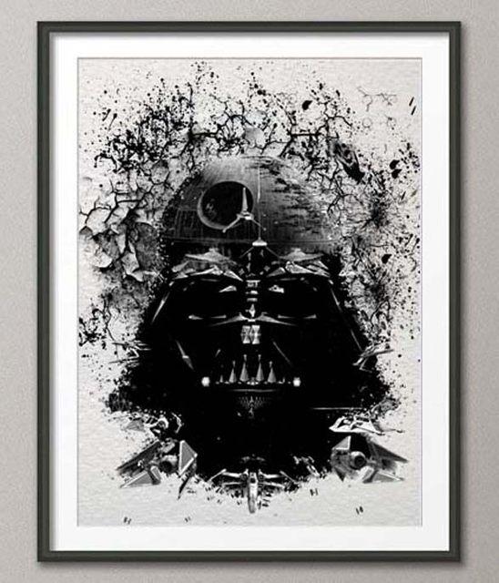 Online Shop Original Watercolor Darth Vader Print Canvas Painting Pertaining To Darth Vader Wall Art (View 6 of 10)