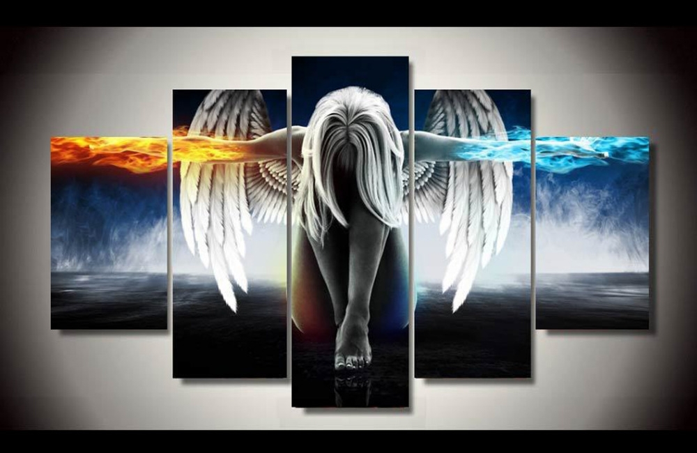 Original Ink Painting 5 Panels Canvas Print Girl Of Angel Painting Throughout Five Piece Canvas Wall Art (Image 9 of 10)