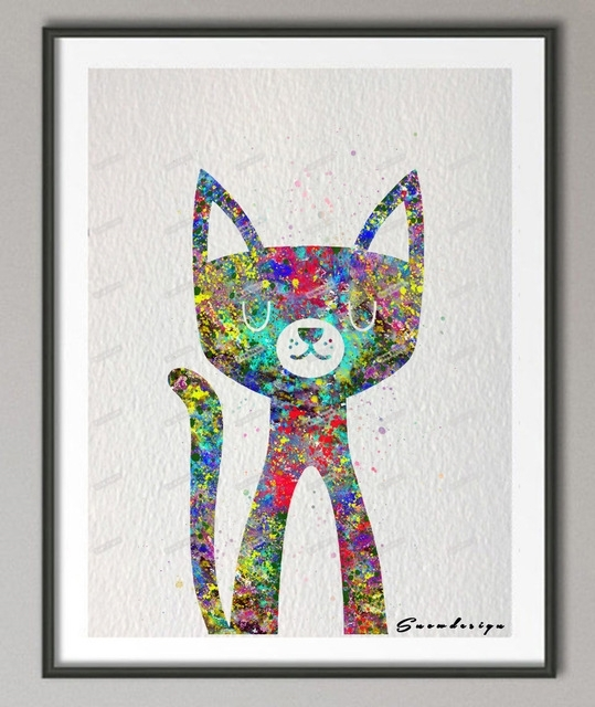 Original Watercolor Cat Canvas Painting Mordern Wall Art Poster Within Cat Canvas Wall Art (Image 8 of 10)