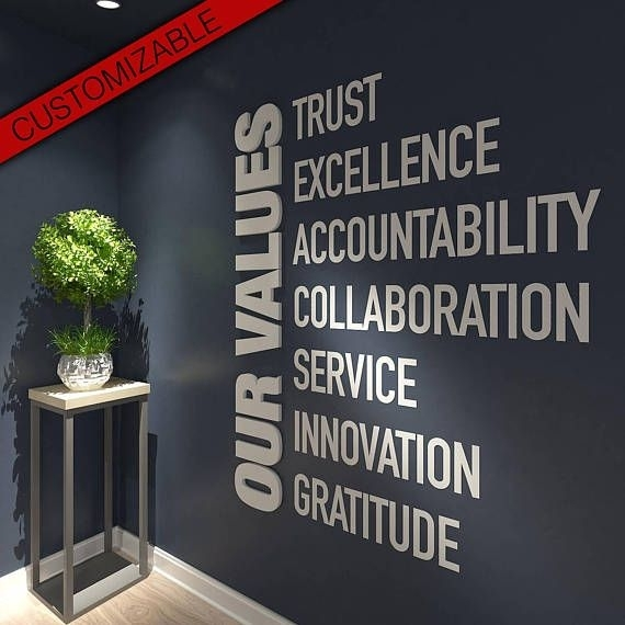 Our Values, Office, Wall, Art, Decor, 3D, Pvc, Typography With Regard To Office Wall Art (Image 9 of 10)