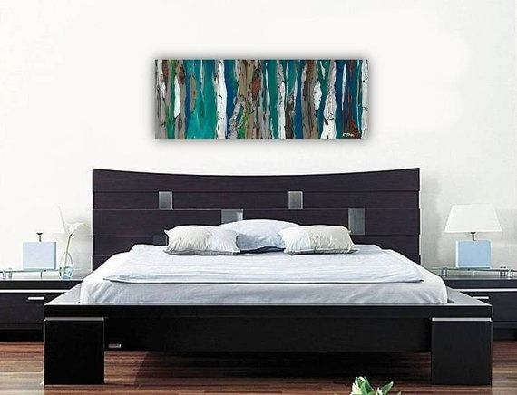 Oversized Long Extra Large Wall Art Blue Artwork Canvas Print Inside Long Canvas Wall Art (Image 8 of 10)