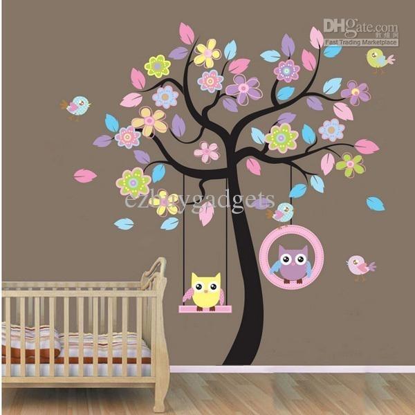 Owl On Swing Birds Flowers Tree Wall Art Decor Decals Kids Nursery Within Baby Room Wall Art (Image 8 of 10)
