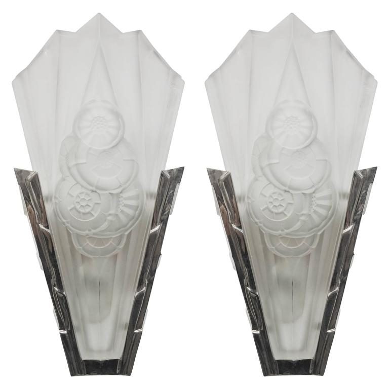 Pair Of French Art Deco Wall Sconces Signeddegue For Sale At 1Stdibs With Art Deco Wall Sconces (Photo 9 of 10)
