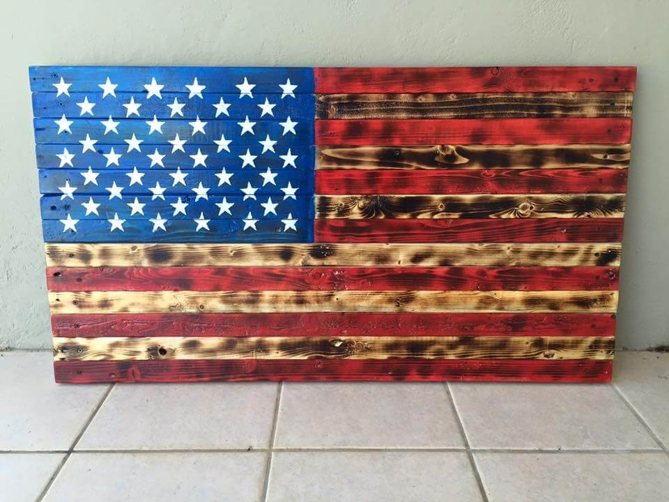 Pallet American Flag Wall Art Pallet Furniture Diy, Wooden American Inside Wooden American Flag Wall Art (Image 3 of 10)