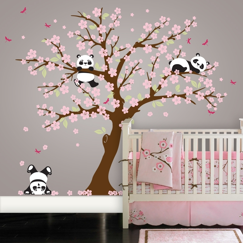 Panda Bear Cherry Blossom Tree Wall Decal | In An Instant Art For Tree Wall Art (View 10 of 10)