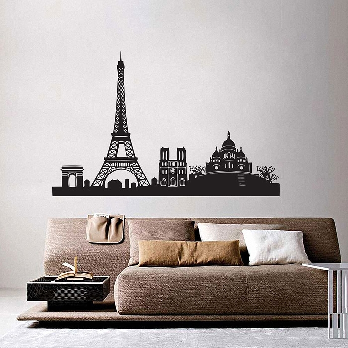 Paris City Skyline Vinyl Wall Art Decal In Paris Wall Art (Image 6 of 10)