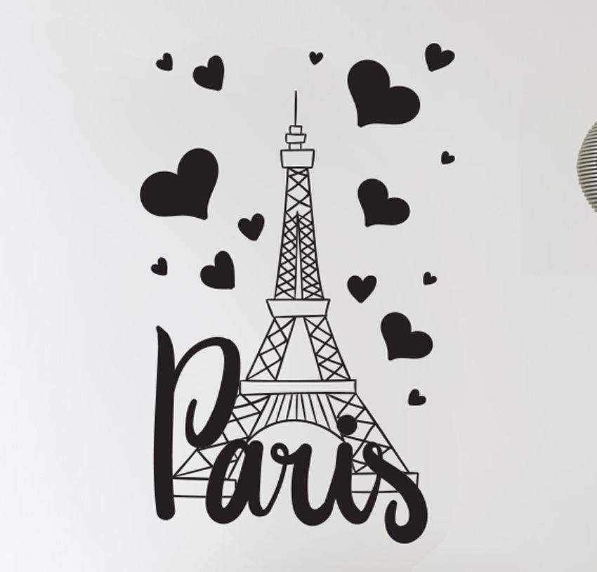 Paris France Eiffel Tower Love Wall Art Decal Decor Vinyl Sticker Mural With Paris Wall Art (Image 7 of 10)