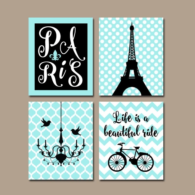 Paris Wall Art, Canvas Or Prints, Eiffel Tower Decor, Aqua Black Within Paris Wall Art (Image 10 of 10)