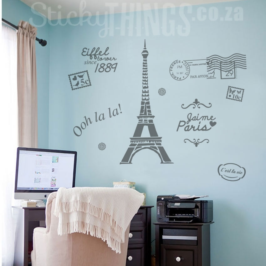 Paris Wall Art – Paris Decal Wall Sticker – Stickythings.co (Image 8 of 10)