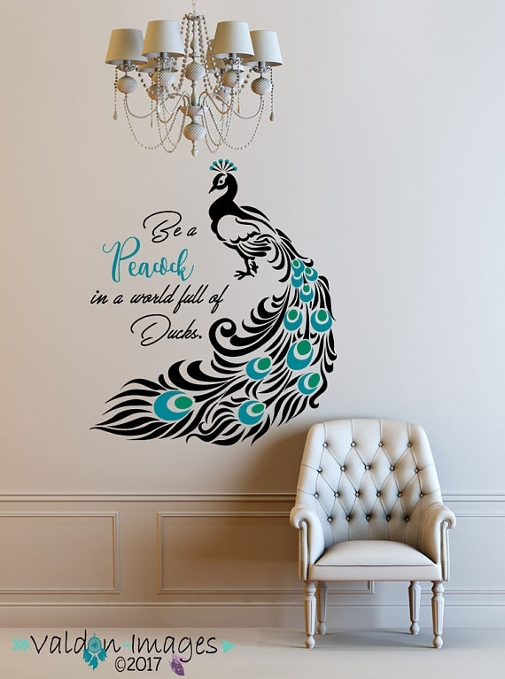 Peacock, Quote Decal, Peacock Feathers, Peacock Decor, Peacock Wall Within Peacock Wall Art (Image 9 of 10)