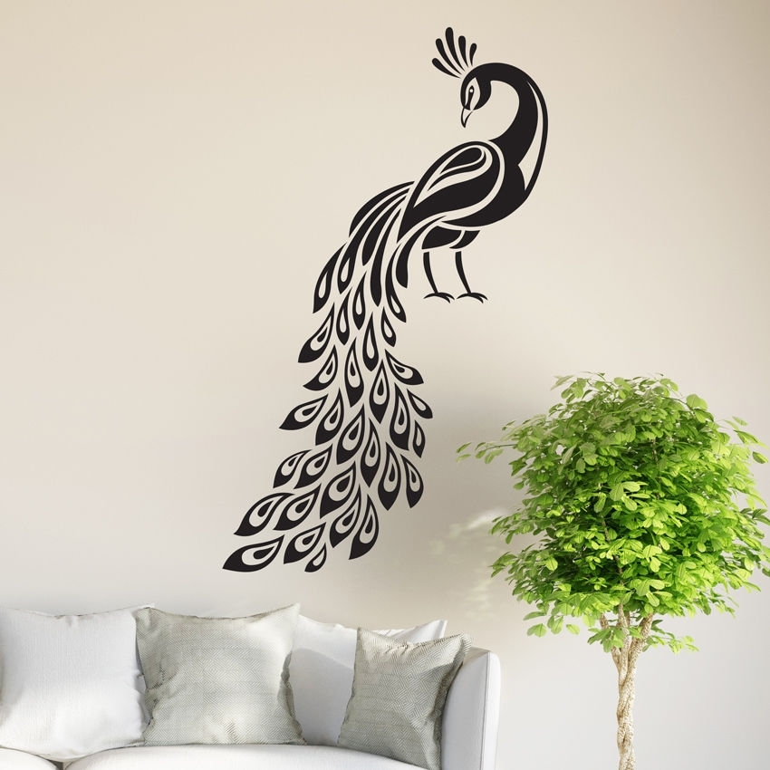 Peacock Wall Sticker Birds Decal Art Livingroom Vinyl Mural Graphics For Peacock Wall Art (Image 7 of 10)