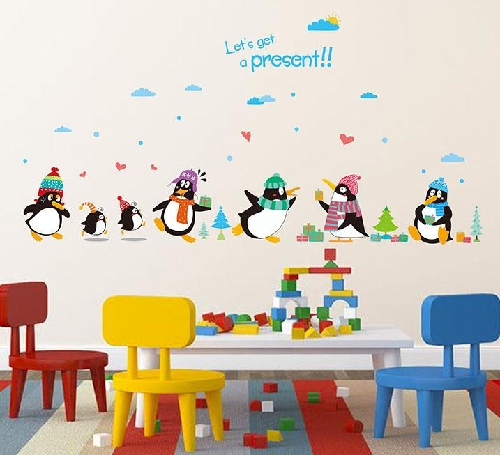 Penguin Present Wall Decal Sticker Kids Room Nursery Wall Art Mural With Kids Wall Art (Image 9 of 10)