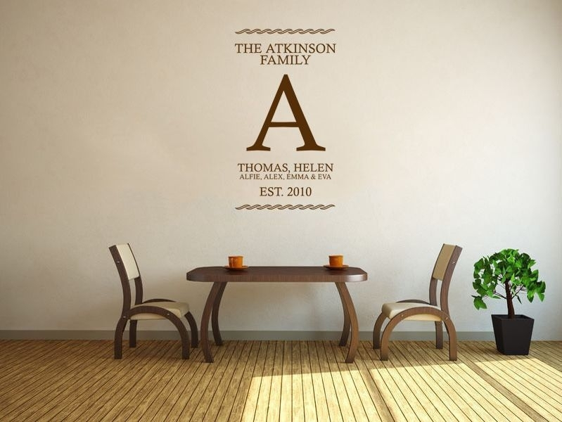 Personalised Family Name Wall Art Sticker Vinyl Wall Sticker Decal With Regard To Name Wall Art (Photo 6 of 10)