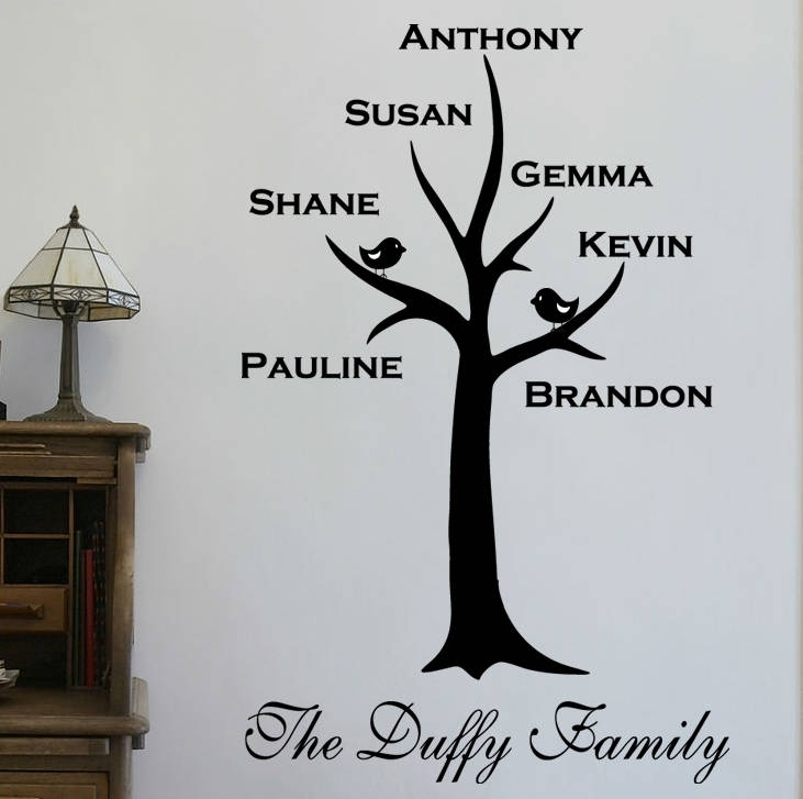 Personalised Family Tree Wall Stickerwall Art Quotes & Designs Within Family Tree Wall Art (Image 7 of 10)