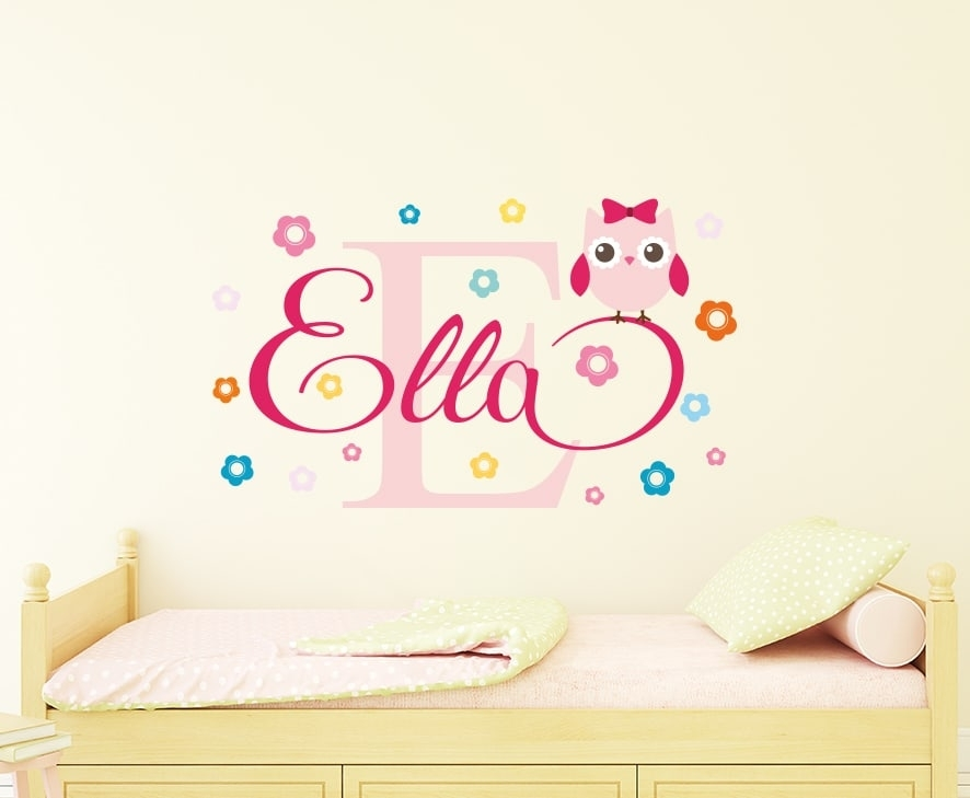 Personalised Flowery Owl Name Wall Decal Is Perfect For A Owl Themed With Name Wall Art (Image 5 of 10)