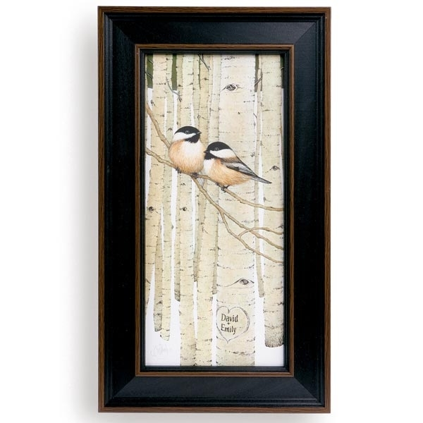 Personalized Love Birds Framed Canvas Print At Signals | Hb4112 Regarding Bird Framed Canvas Wall Art (Image 7 of 10)