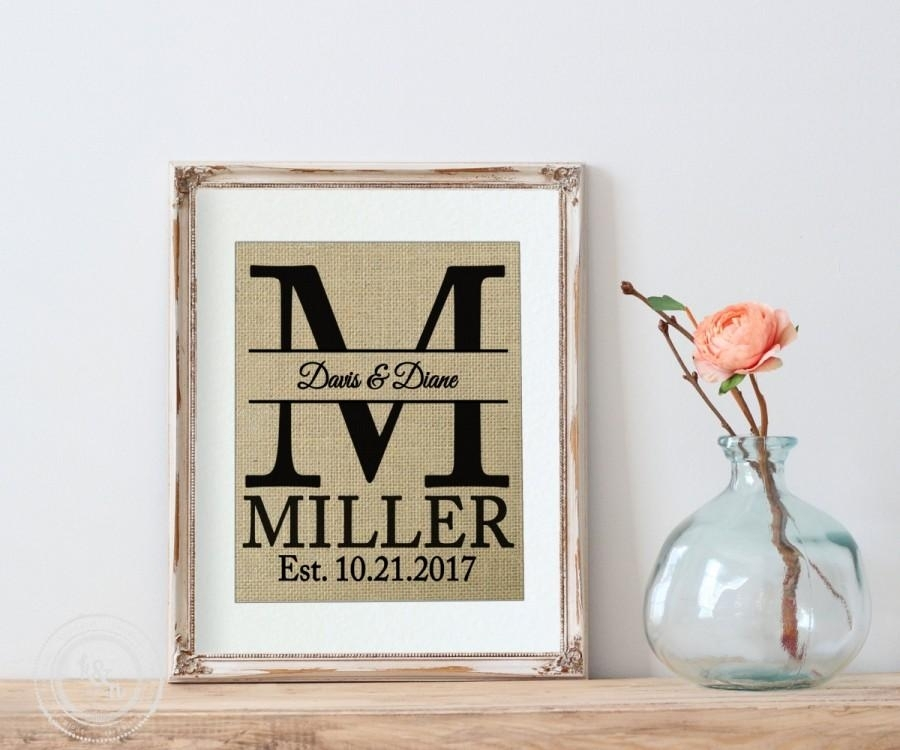 Personalized Wedding Gift, Burlap Personalized Wedding Gift Monogram Throughout Monogram Wall Art (View 5 of 10)