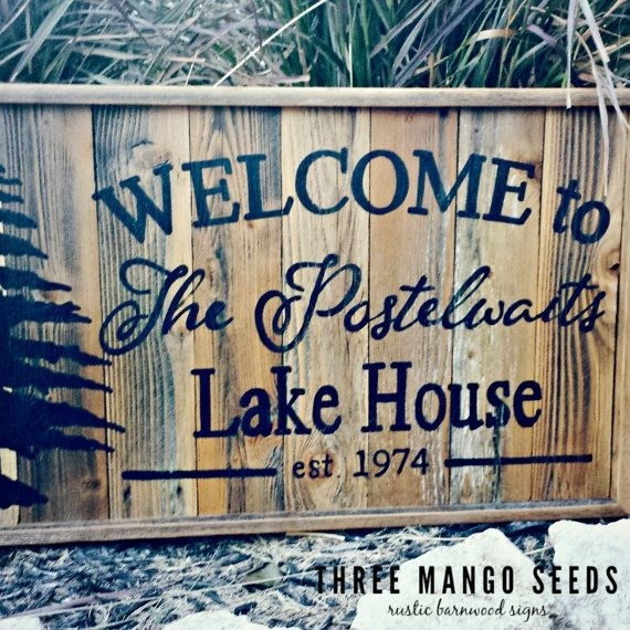 Personalized Welcome Rustic Wood Sign / 17X25 / Hand Lettered Pertaining To Lake House Wall Art (Image 8 of 10)