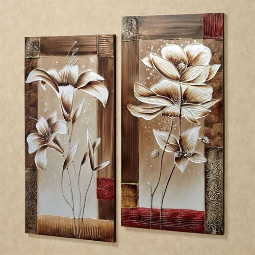 Petals Of Spring Floral Canvas Wall Art Set Intended For Floral Canvas Wall Art (Photo 4 of 10)