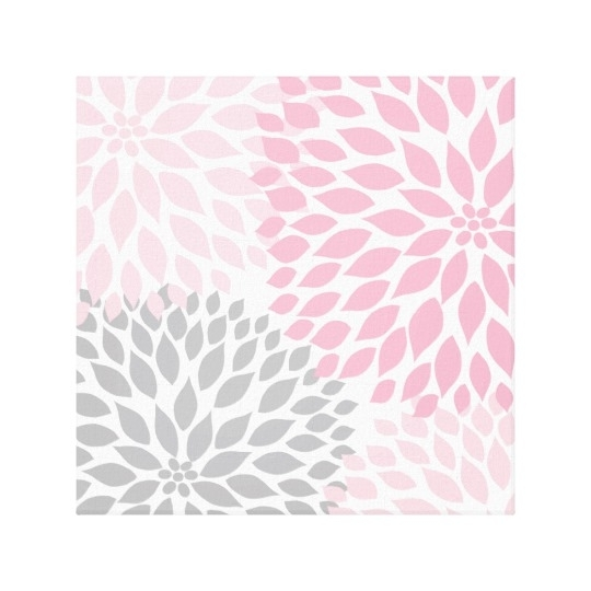Pink And Gray Dahlia Square Wall Art | Zazzle In Pink Wall Art (Image 7 of 10)
