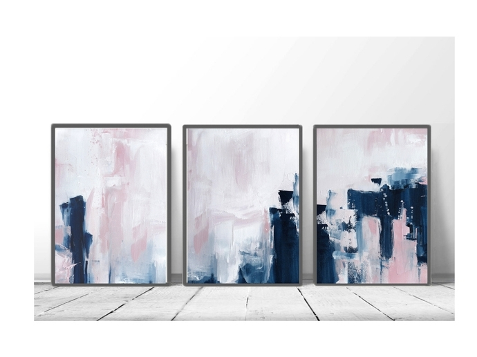 Pink And Navy Blue Triptych Wall Art, Set Of 3Semelart On Zibbet In Triptych Wall Art (Photo 10 of 10)