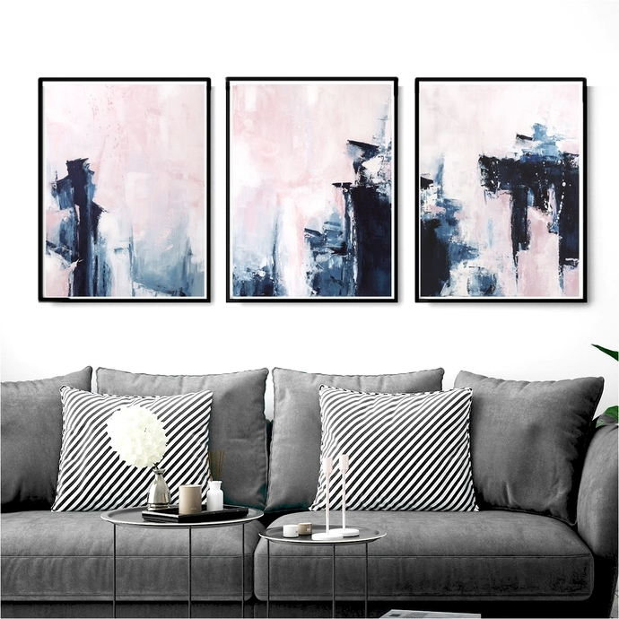 Pink And Navy Blue Triptych Wall Art, Set Of 3Semelart On Zibbet Throughout Triptych Wall Art (Photo 7 of 10)
