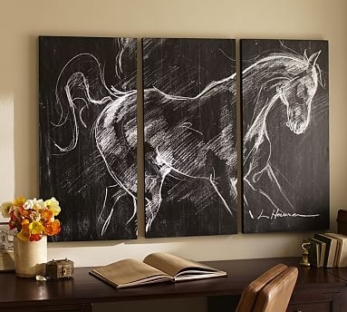 "Planked Horse Triptych Wall Art, 30 X 54"", Black/white 