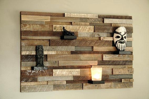 Planked Wall Art Wood Wall Planks Reclaimed Driftwood Look Peel And Pertaining To Plank Wall Art (View 2 of 10)