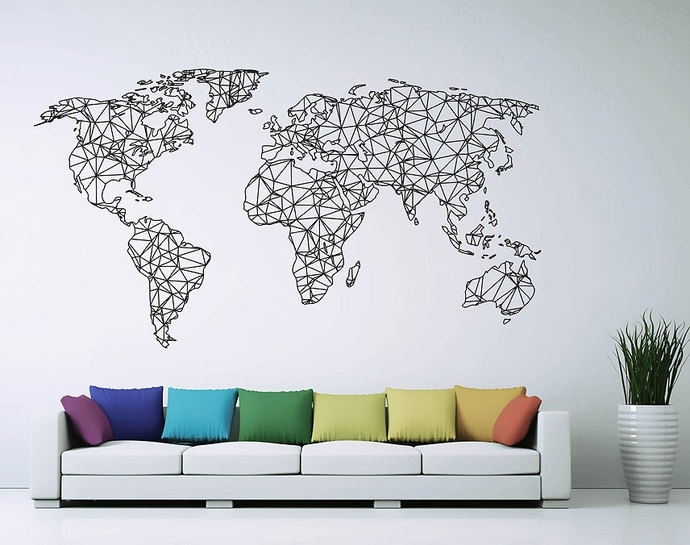 Featured Image of Vinyl Wall Art World Map