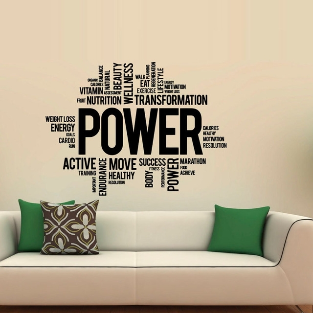 Power Fitness Wall Decals Art Vinyl Sticker Sport Gym Words Home Intended For Wall Sticker Art (Image 7 of 10)