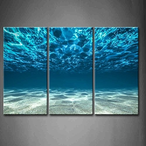 Print Artwork Blue Ocean Sea Wall Art Decor Poster Artworks 3 Panel With Ocean Wall Art (Photo 2 of 10)