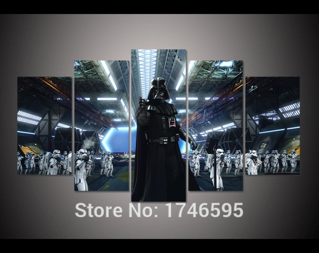 Print Darth Vader And Stormtroopers Star Wars Movie Poster Picture Regarding Darth Vader Wall Art (View 9 of 10)