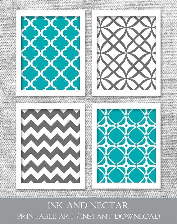 Printable Art Set, Turquoise Teal Gray Art, Printable Wall Art Inside Turquoise Wall Art (View 9 of 10)