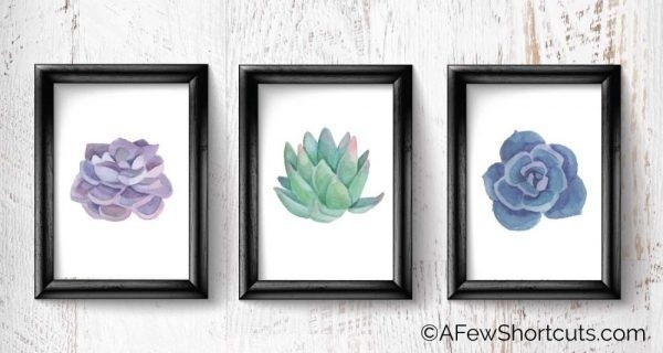 Printable Watercolor Succulent Wall Art – A Few Shortcuts Within Succulent Wall Art (Image 4 of 10)