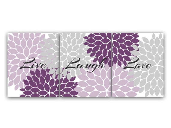 Purple And Grey Bedroom Decor, Live Laugh Love, Instant Download Throughout Purple And Grey Wall Art (Photo 1 of 10)