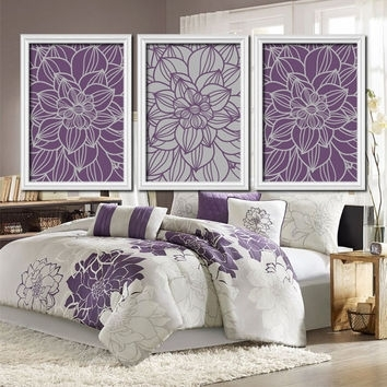 Purple Gray Bedroom Wall Art Bathroom From Trm Design | Wall Art Regarding Purple And Grey Wall Art (Image 8 of 10)