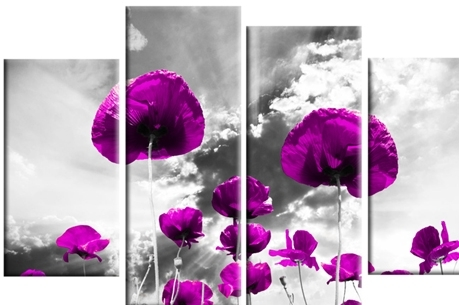 Purple On Grey Poppies Design Wall Art 4 Panel Canvas Wall Art Print Throughout Purple And Grey Wall Art (View 4 of 10)