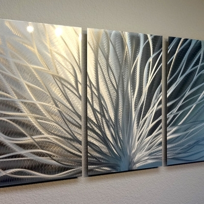 Radiance – 3 Panel Metal Wall Art Abstract Contemporary Modern Decor Intended For Metal Wall Art Panels (Photo 2 of 10)