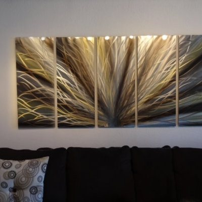 Radiance Large, Gold & Bronze  Metal Wall Art Contemporary Modern In Black And Gold Wall Art (Image 9 of 10)