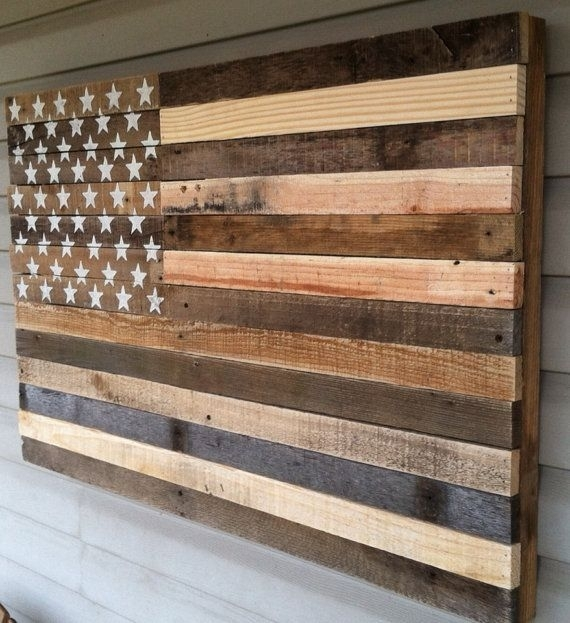 Reclaimed Pallet American Flag Hanging Wall Art 38 Door Kustomwood For Wooden American Flag Wall Art (Photo 2 of 10)